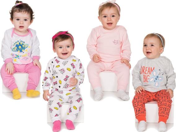 Pijama Bebê Menina Kit 4 Conjuntos Pijama Longo De Inverno
