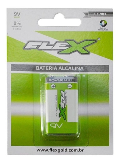 Pilha 9v Bateria Alcalina Flex Gold Power Full 1ª Linha - Tipo Duracell Sony Philips Mox Elgin