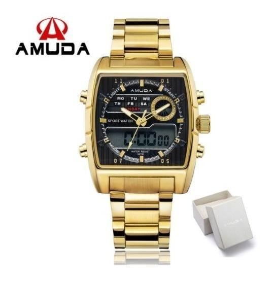 Relógio Pulso Masculino Dourado Anadigi Original Top D Luxo