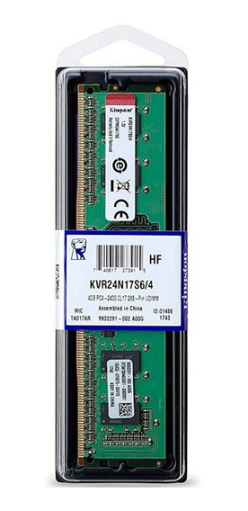 Memoria Ram 4gb 1x4gb Kingston Kvr24n17s6/4