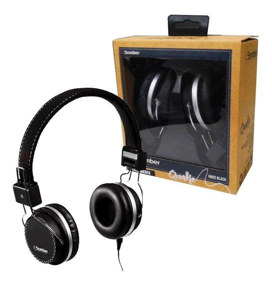 Fone Bomber Quake Hb02 Preto Headphone Acabamento Tecido