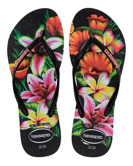 Sandália Havaianas Slim Floral Fc Preto E Laranja - Original