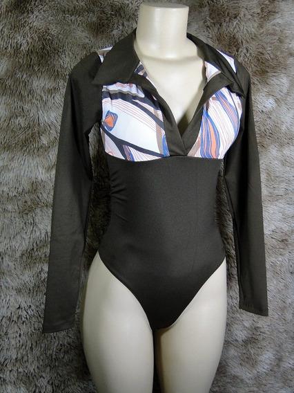 Body Feminino Camisa Polo Manga Longa Modelador Redutor De Medidas Alta Compressão Mooah