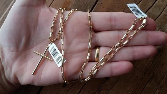 Corrente E Pingente Crucifixo Ouro 18k 2.4mm 60cm *