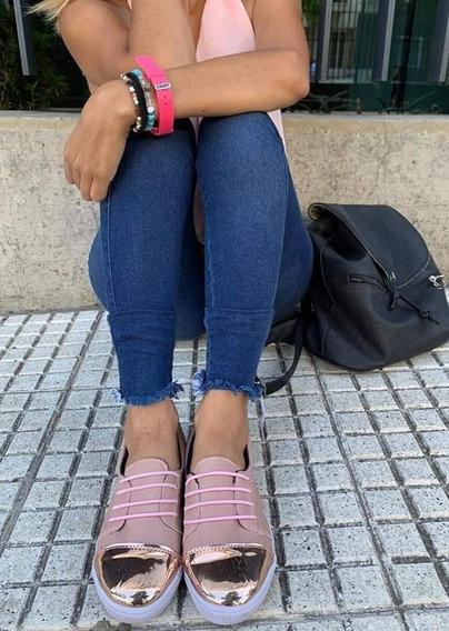 Zapatillas Panchas Acordonadas Punta Metalizada Plataforma