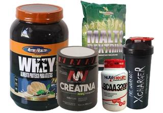 Kit Nutrihealth Whey Health 900g + Crea + Malto + Shaker