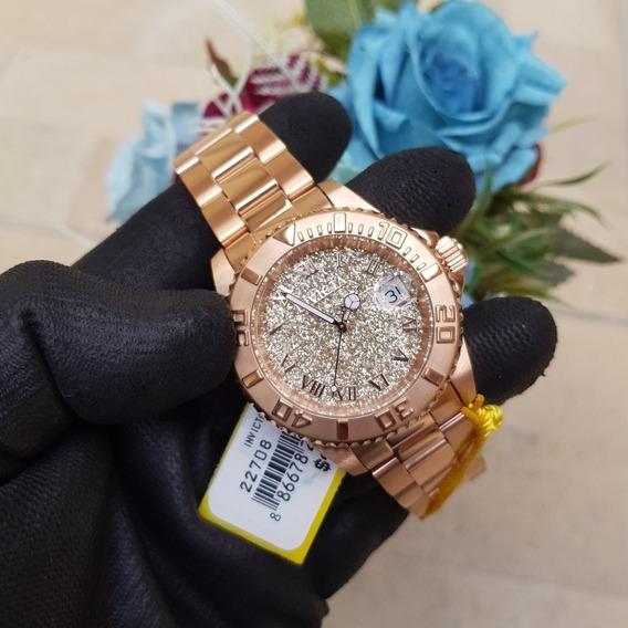 Relógio Invicta Feminino Angel 22708 Original Ouro Rose 18k
