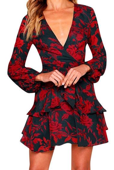Vestido Corto Gris Oxford Flores Cuello V Profundo Fiesta