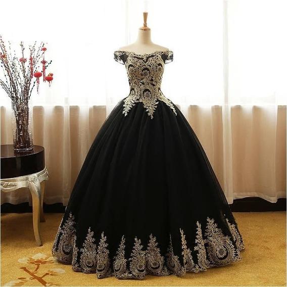 Vestido De Xv Años 15 Dulces 16 Negro Bordados Importado