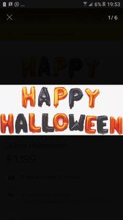 Globo Letras Halloween Decoracion + 4 Globos Latex