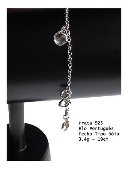 Pulseira Prata 925 Elo Português Com Infinito E Zircônia