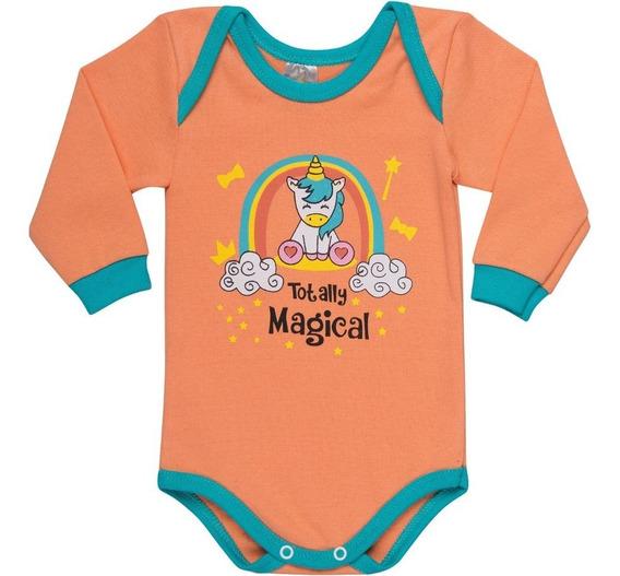 Roupa De Bebê Menina Body Manga Longa Gola Americana