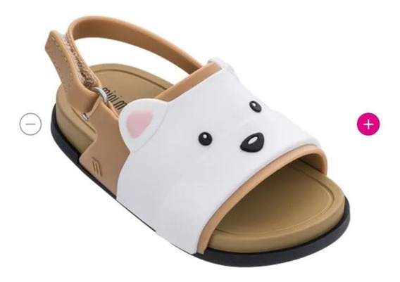 Mini Melissa Beach Slide Sandal Bear Bege/branco (infantil)