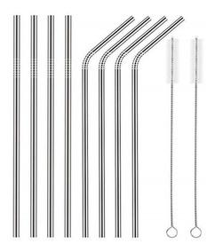 Canudo Reutilizável Inox 8 Unid(23cm) + 2 Escova