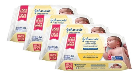 Kit Johnsons Baby Toalhinhas Recém-nascido C/ 384 Unidades
