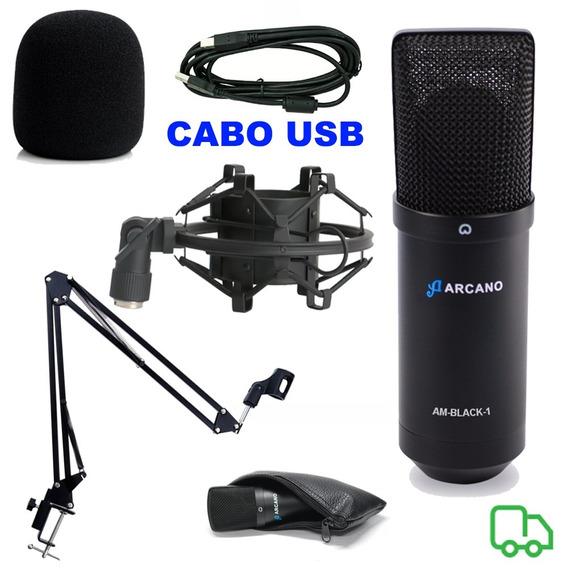 Microfone Arcano Black Usb+braço Articulado + Aranha+ Espuma