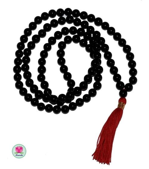 Rosario Budista, Japa Mala De Agata Negra De 8mm.