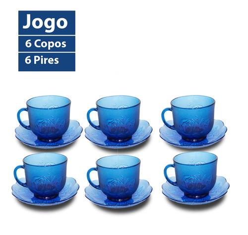 Jogo Xícaras Com Pires Azul Para Café Chá 200ml 12peças
