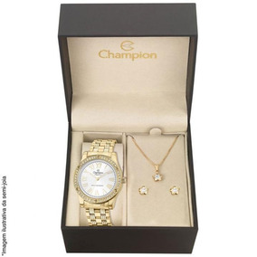 Kit Relógio Champion Feminino Cn27287w + Brincos E Colar
