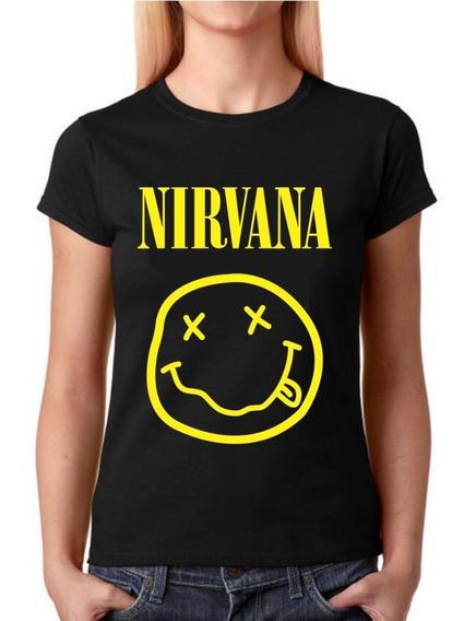 Camisetas Baby Look Feminina Rock - Nirvana - 100% Algodão!