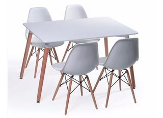 Mesa Eames Comedor 120 Mario Cellini + 4 Sillas Eames