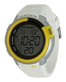 Relógio Pulso Mariner Freestyle Branco Amarelo Silicone Whit