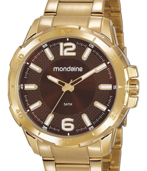 Relógio Mondaine Masculino Dourado 53791gpmvde1 + Nfe
