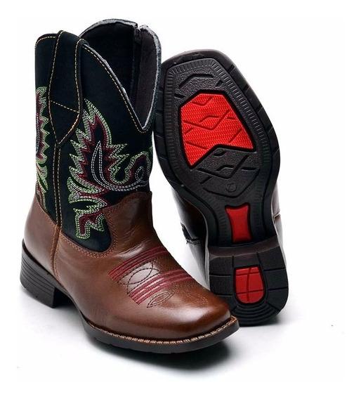 Bota Country Infantil Kids Texana Masculina Em Couro Cowboy