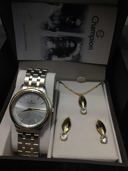Kit Relógio E Jóia Champion Cn20435d