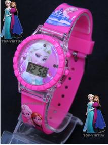 Relógio Infantil Da Frozen Rosa Menina Com Som E Luzes C330