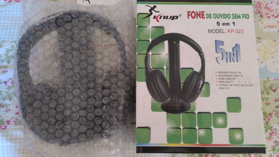Dois Fones Ouvido Headphone Wireless 5x1 Sem Fio Knup Kp-323
