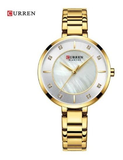 Relógio Feminino Curren Luxo Resistente A Água - Gold