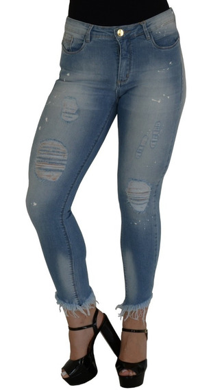 Calça Jeans Feminina Manchada Lavagem Clara Lycra + Brinde
