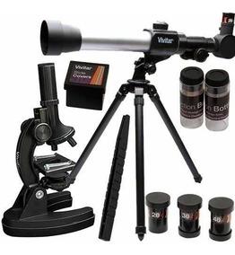 Kit Telescópio Microscópio 120x + Tripé Vivtelmic20 Vivitar