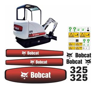 Adesivo Mini Escavadeira Bobcat 325 + Etiquetas Completo Mk