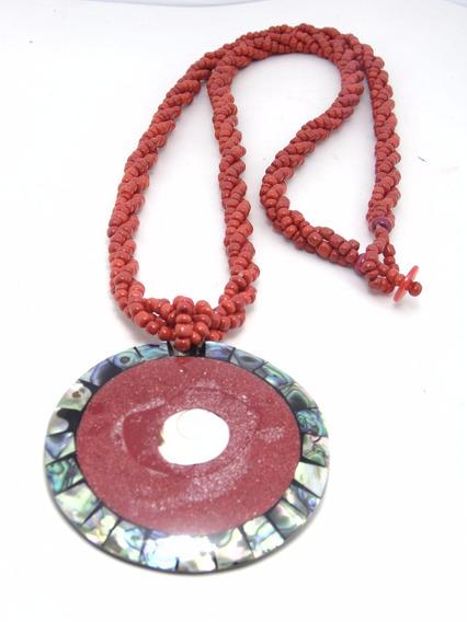 Cordao Biju Micangas Vermelhas C/ Medalha Conchas Bem Longo