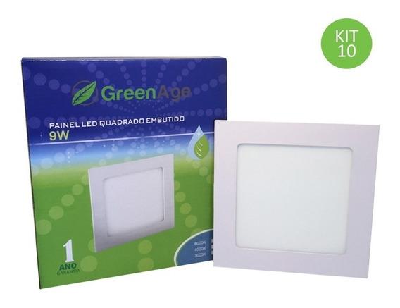 Plafon Painel Led Embutir 9w Branco Quente Quadrado Kit 10