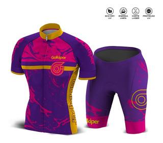 Conjunto Ciclismo Dry Uv Feminino P M G Pink Com Lilas