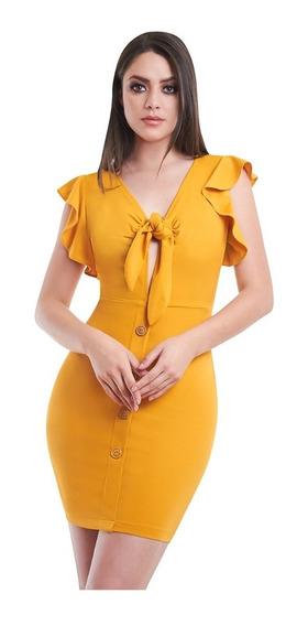 Vestido Corto Amarillo Con Moño En Escote Devendi Denim Co.