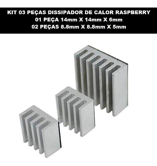 Dissipador Calor Autoadesivo Raspberry Pi 2 Pi2 / Pi 3 Pi3