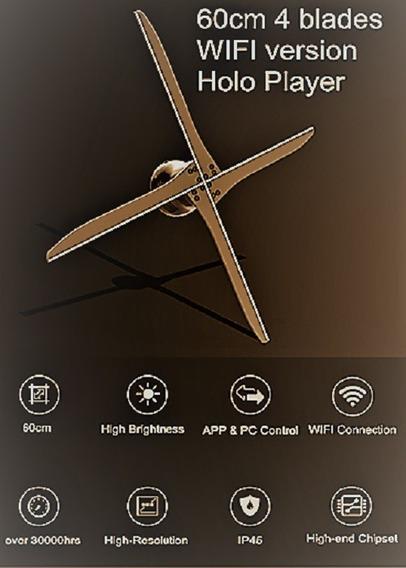 Hologramas Em 3d De Alta Definição/holografia Fan-56 Cm Wifi