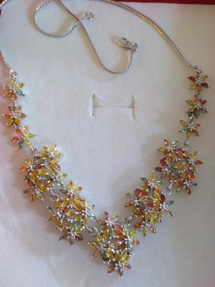 Collar Gargantilla Plata Con Zafiros Naturales