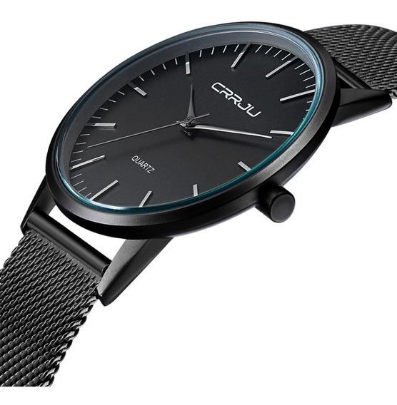 Relógio Masculino Social Ultra Fino De Luxo Metálico Preto