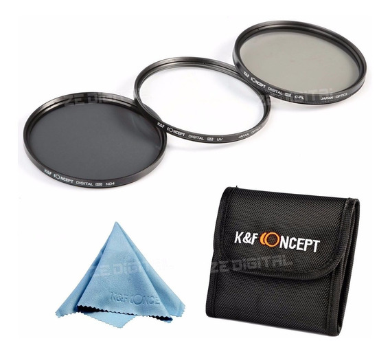 Kit De Filtros 77mm Hd. Polarizado, Nd4 E Uv Canon E Nikon