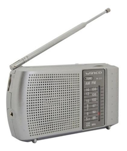 Radio Portatil A Pilas Am Fm Mano Con Auriculares Winco W223