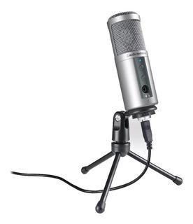 Micrófono con accesorios Audio-Technica ATR2500-USB condensador plata