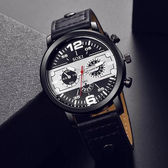 Relógio Masculino Pulseira De Couro De Luxo