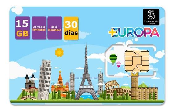 Chip Sim Europa Internet 15 Gb Minutos Y Sms Ilimitados