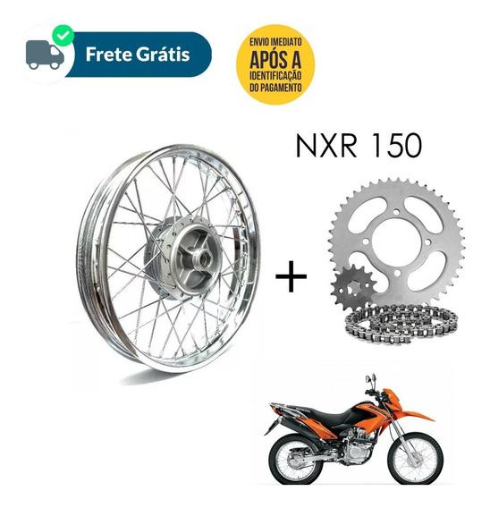 Aro Roda Montada Nxr Bros 150+ Kit Relaçao Aço 1045 Completo