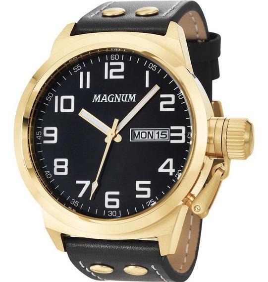 Relógio Magnum Masculino Dourado Couro - Ma32756u Top